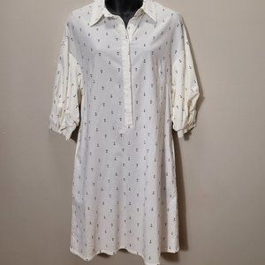 ESLEY White Anchor Shirt Dress ADORABLE